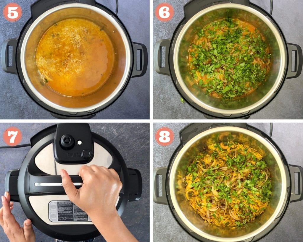 Step 5-8 of assembling chicken biryani in Instant pot