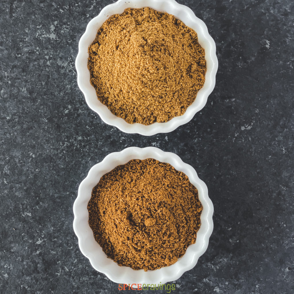 ground cumin and roasted cumin powder in white bowls