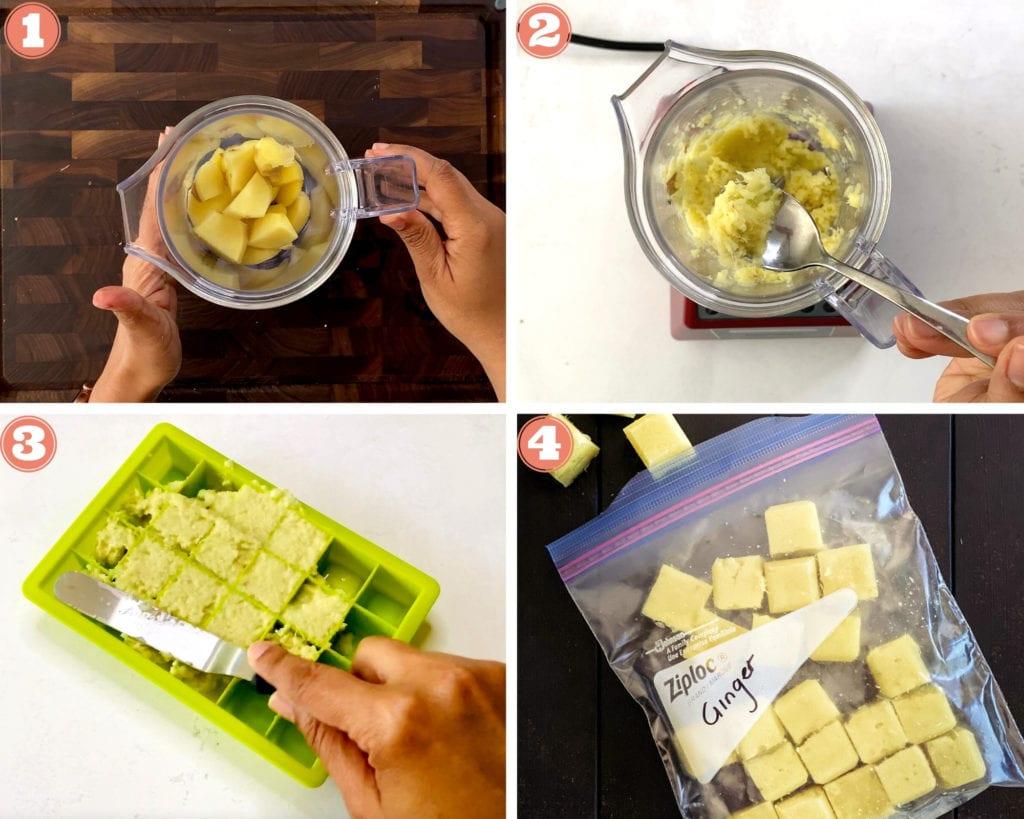 4 steps showing how to make ginger paste in blender