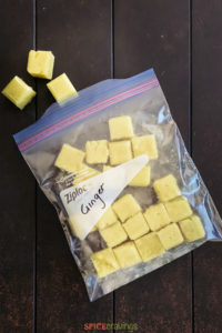 ginger paste cubes in plastic freezer storage bag