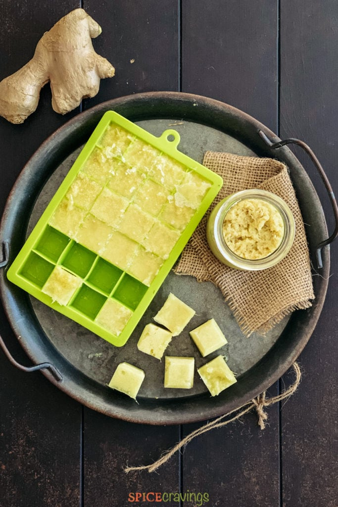 ginger paste and cubes in green ice cube tray