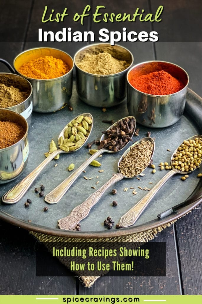 Spoons and containers filled with Indian spices