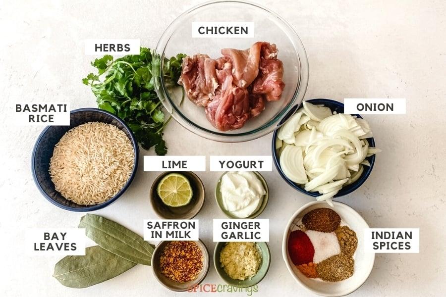 Ingredients to make chicken biryani