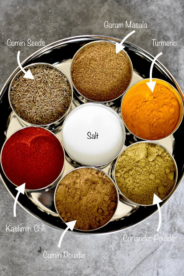 Indian spice container with seven different spices