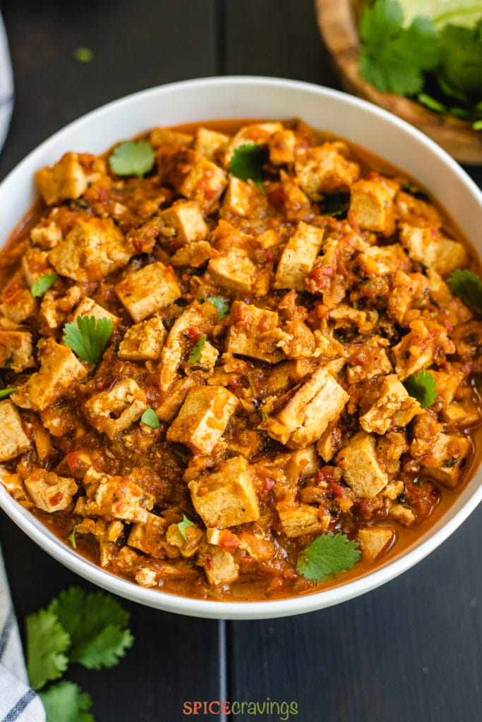 Braised tofu in spicy sauce in white bowl