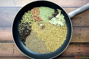 Whole spices in skillet