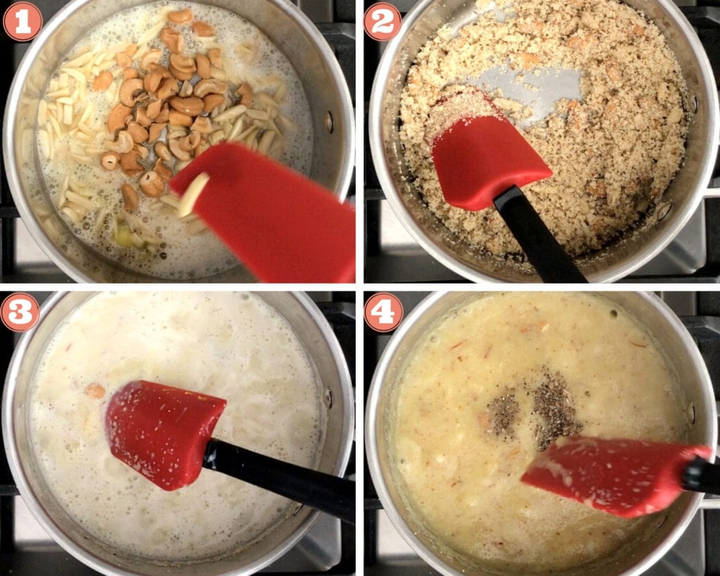 four step grid showing how to make suji halwa in sauce pan