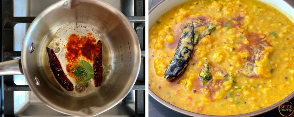 Preparing oil tempering called tadka on left, Garnished over dal on right