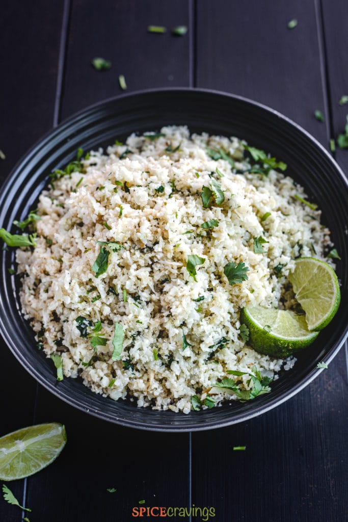 cauliflower rice with lime in bowl