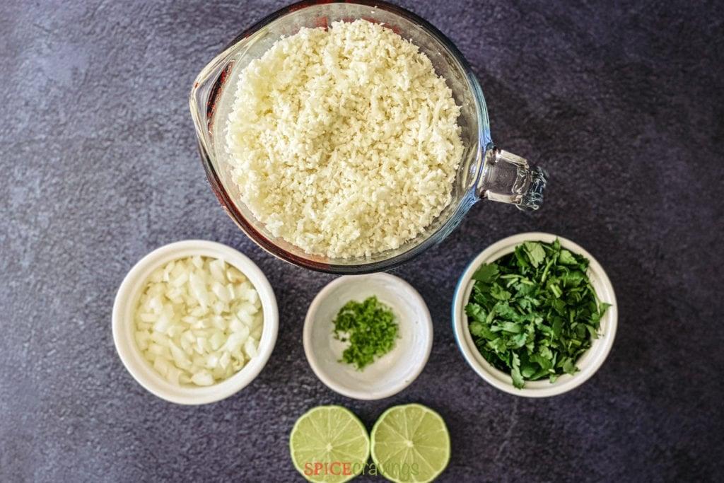 riced cauliflower, onion, garlic, lime, cilantro