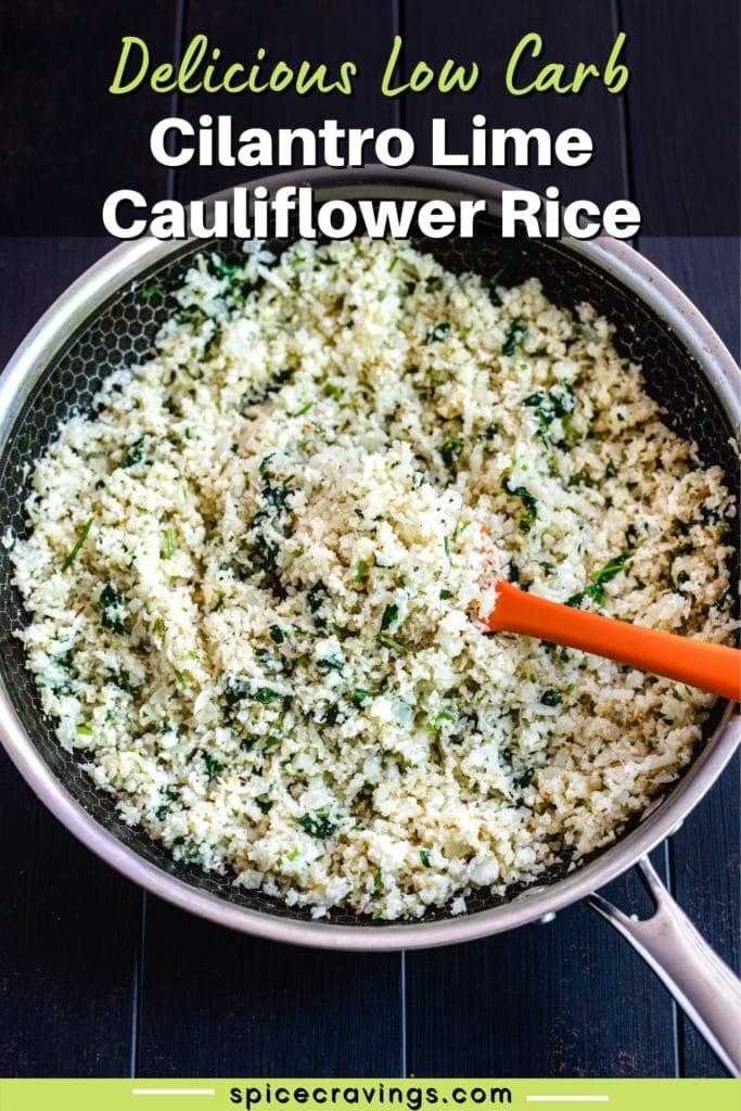 cauliflower rice with cilantro in skillet