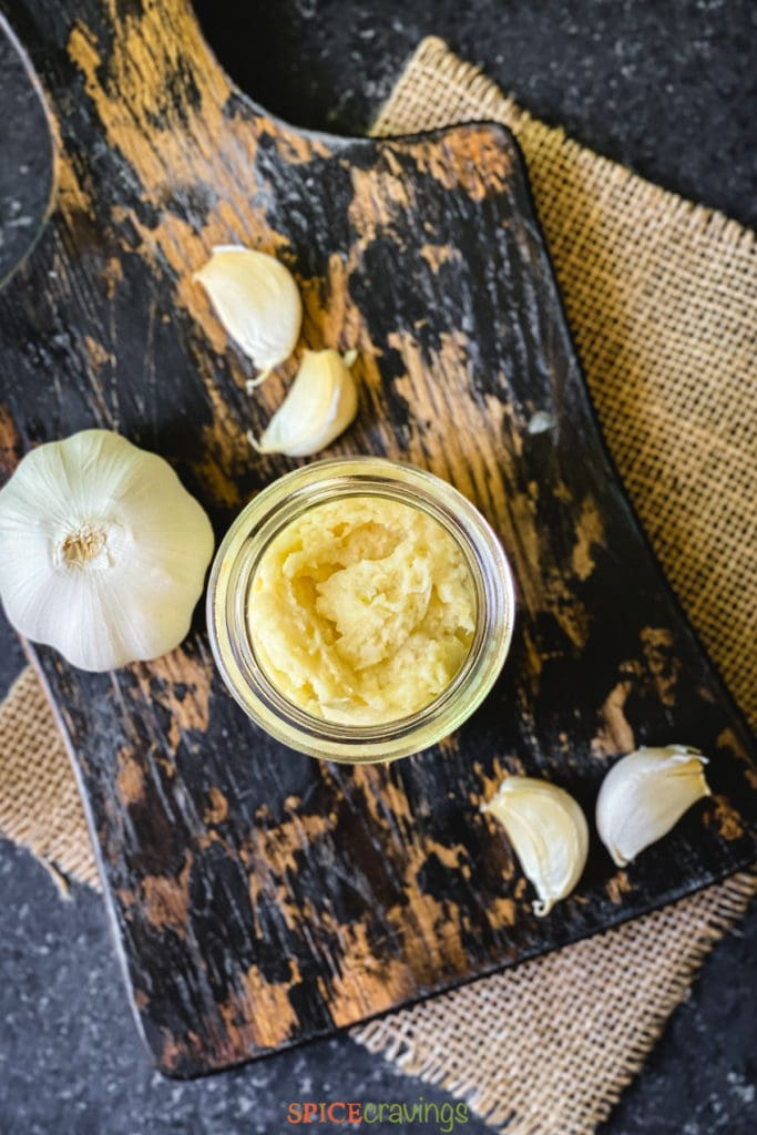 garlic paste in small glass jar