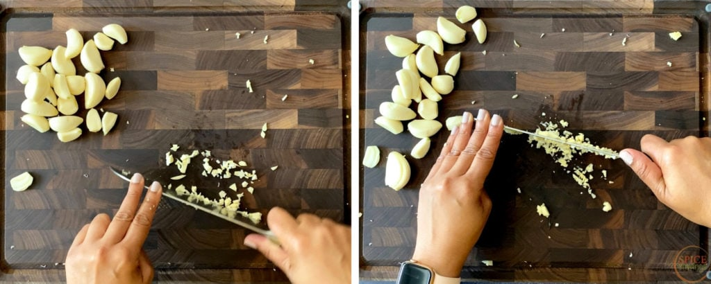 two shots showing how to chop garlic with chef's knife