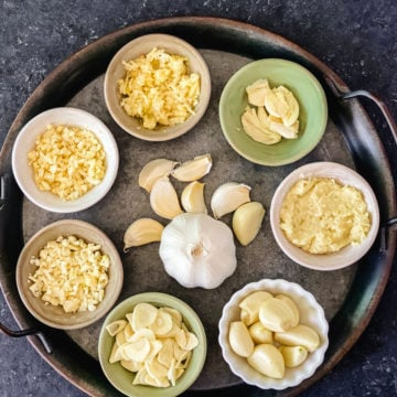 whole garlic head, cloves, sliced, chopped, minced, grated and paste of garlic