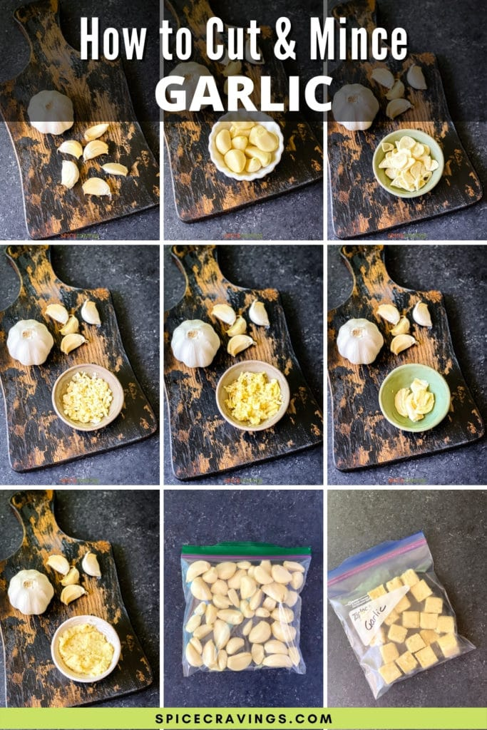 nine grid photo of garlic cut into different shapes