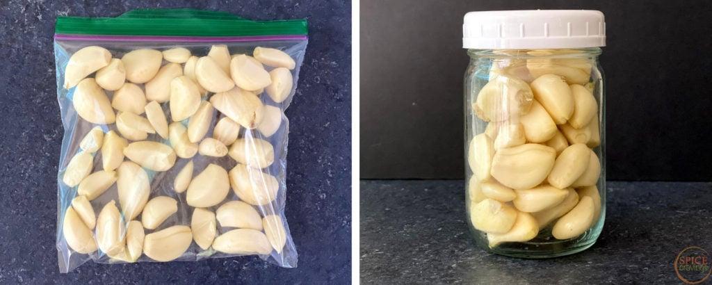 peeled garlic cloves in plastic storage bag and glass jar