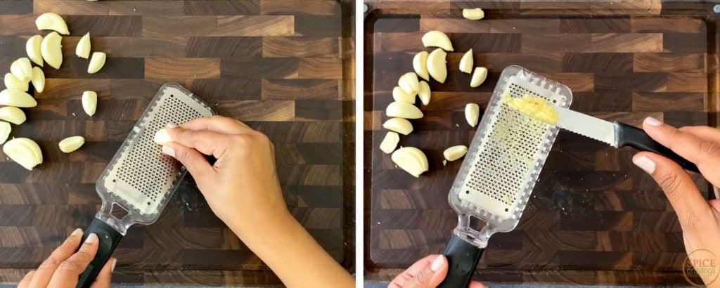 grating garlic cloves on microplane