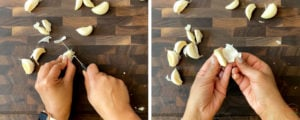two hands peeling garlic cloves