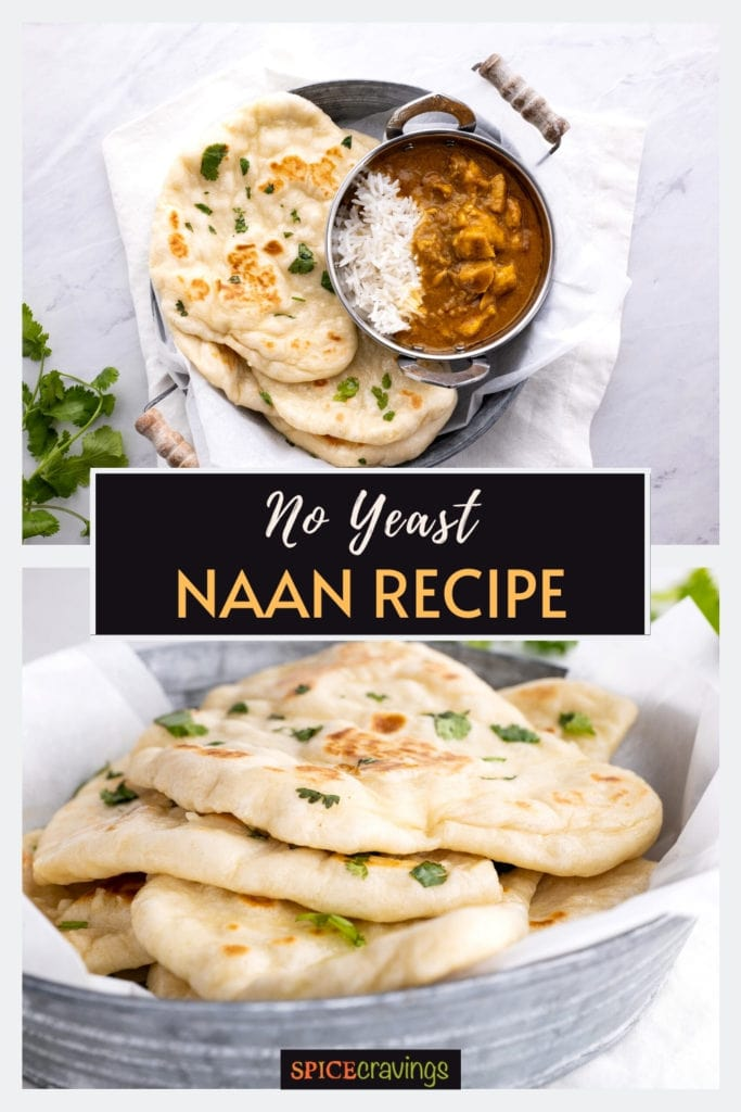 naan bread with rice and curry on side and close-up of naan