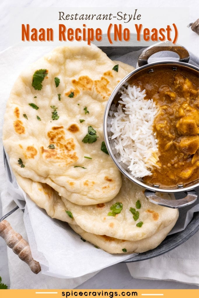 naan bread with rice and curry on side