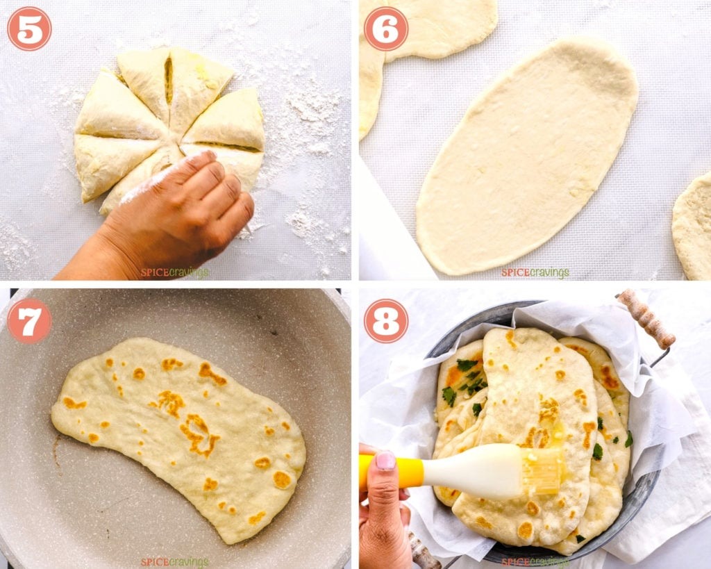 four step grid finishing naan bread on the stove