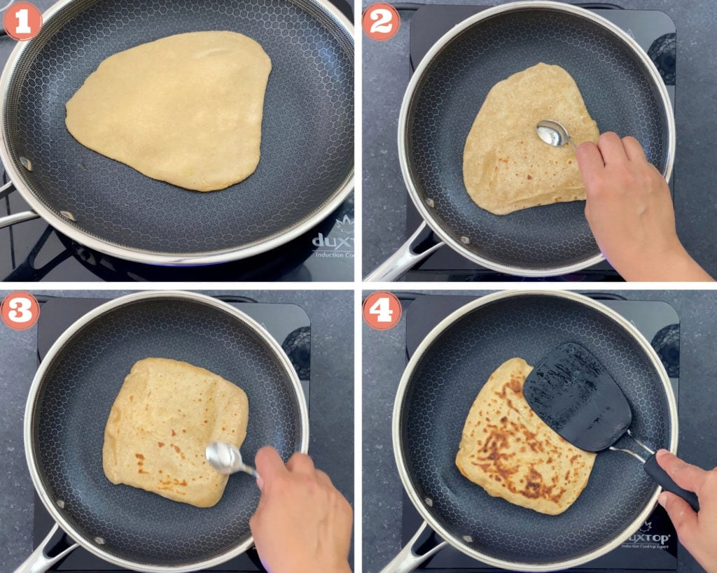 4-image grid showing how to cook paratha in a skillet