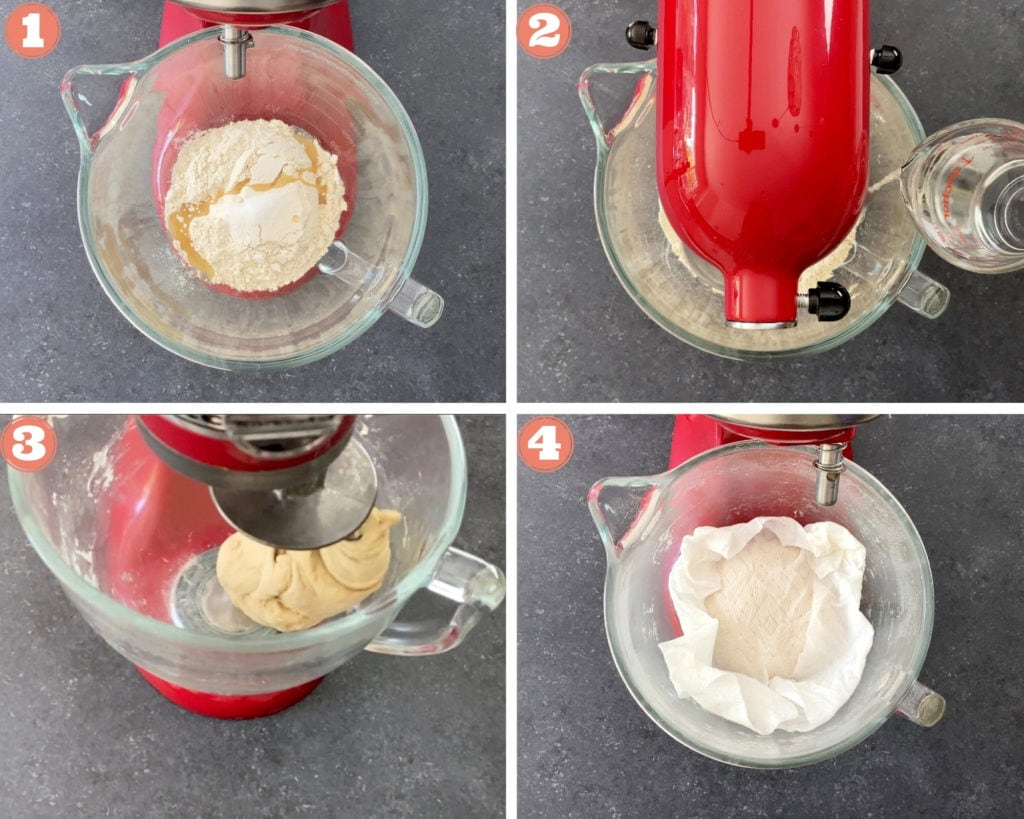 4-image grid showing how to make paratha dough in stand mixer
