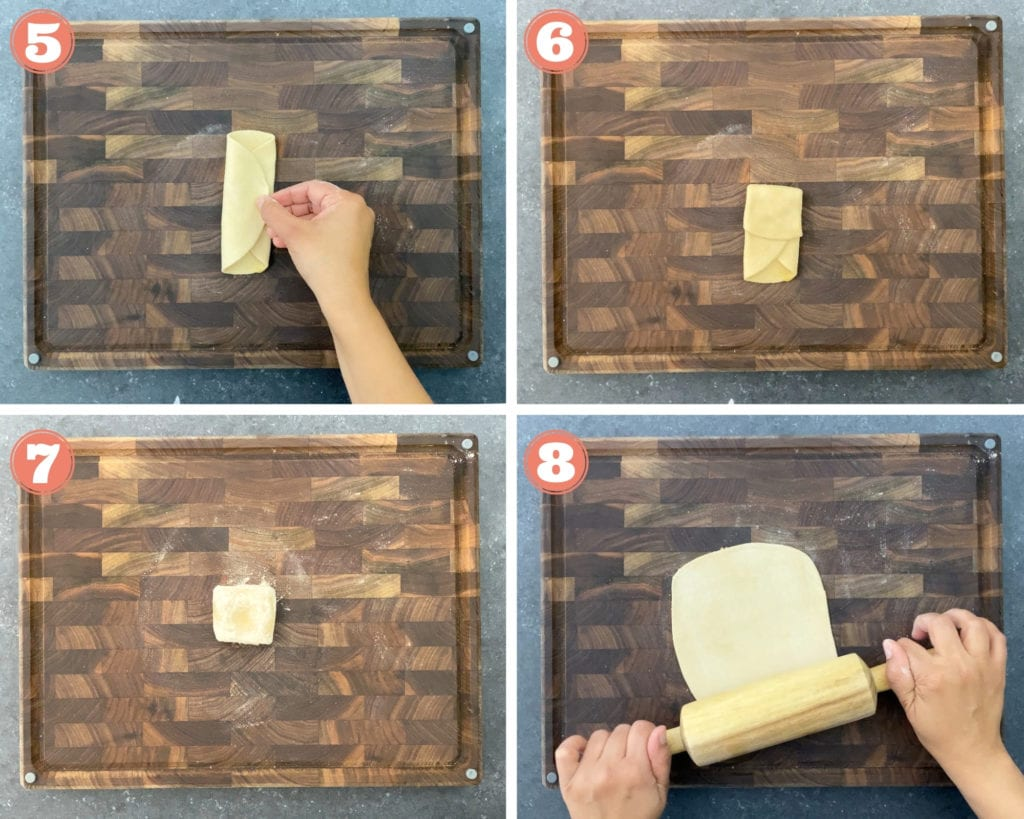 4-images showing how to fold and roll a square paratha