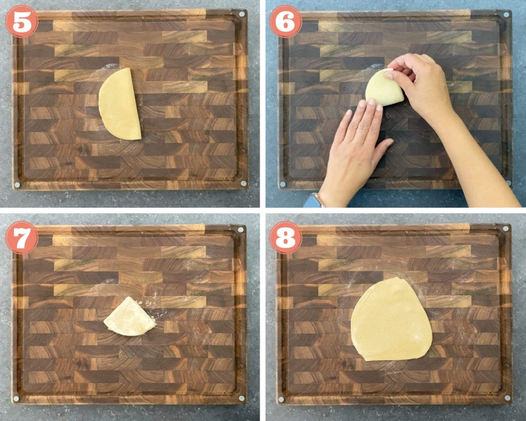 4-images showing how to fold and roll triangle shaped paratha
