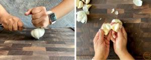smashing and separating whole garlic head