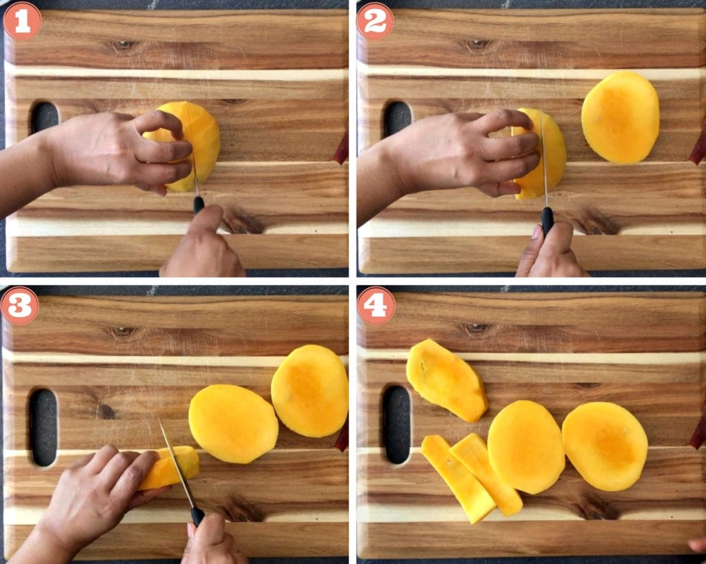 four step guide on how to cut a mango into cheeks