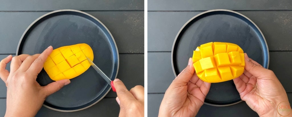 two step guide showcasing inside out mango cubes