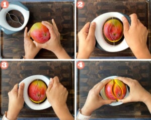four step guide on how to use a mango splitter