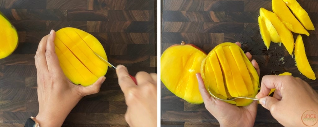 two steps showing how to slice mango