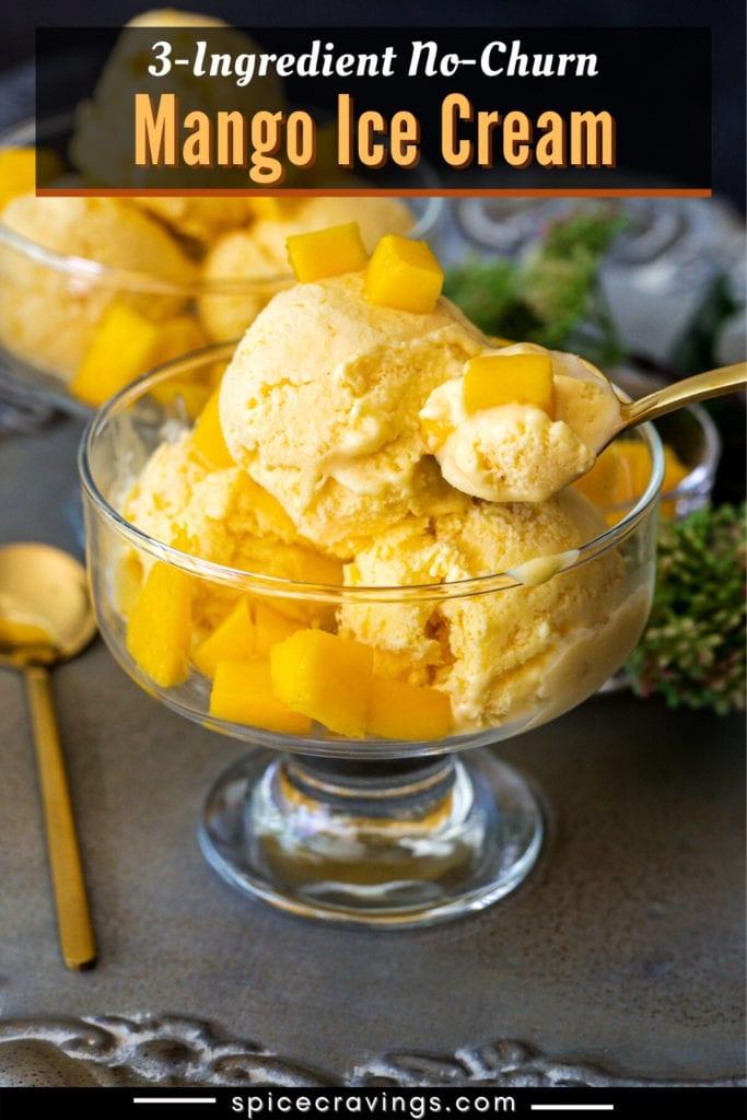 Mango ice cream topped with chopped mangoes