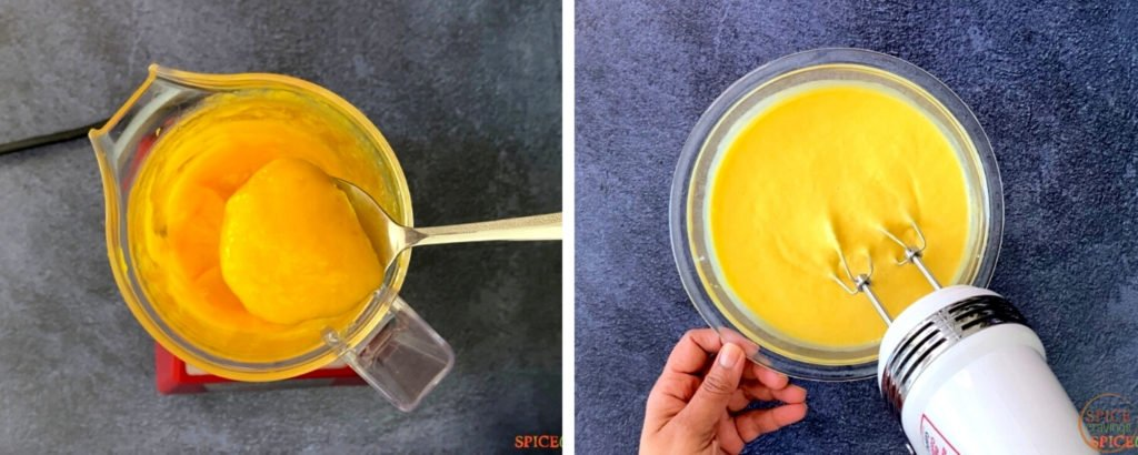 mango puree in blender on left, mixed with condensed milk on right