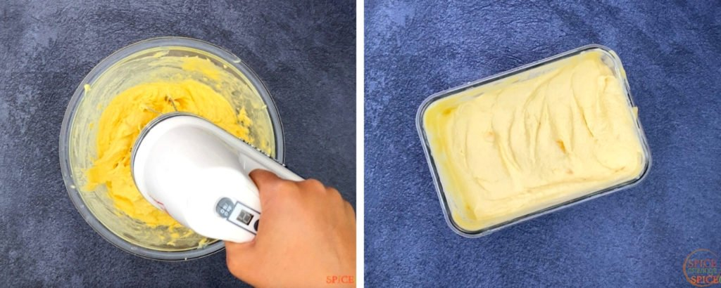 Whipping ice cream mix, poured in container on right