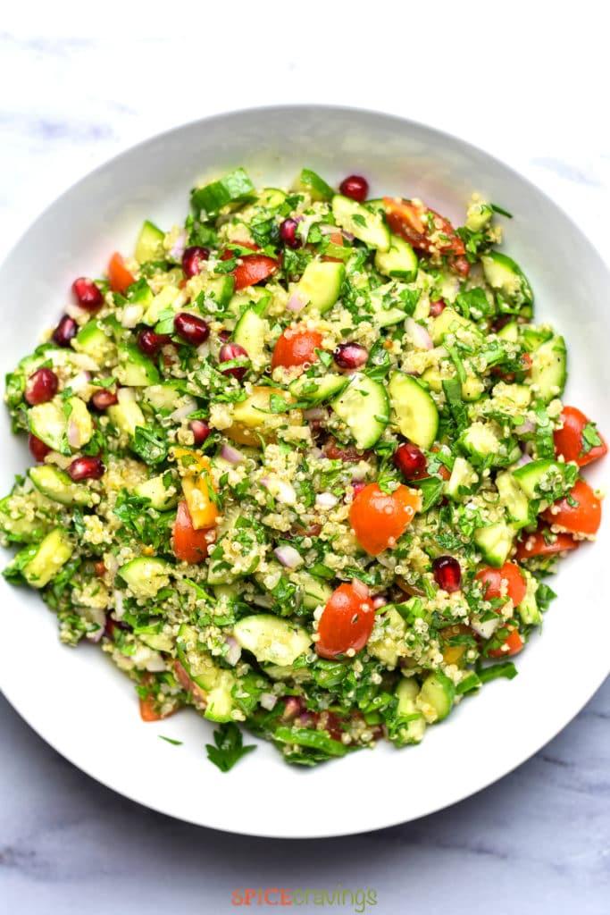 easy quinoa tabbouleh salad in white bowl