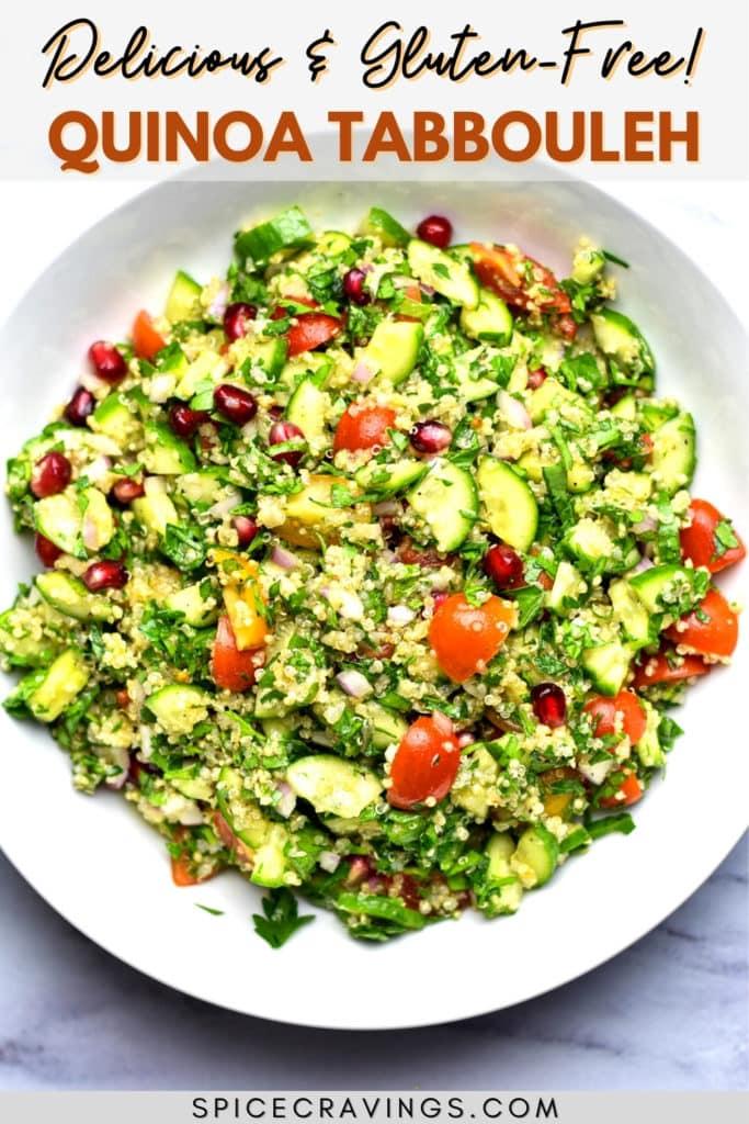 quinoa tabouli salad in white bowl