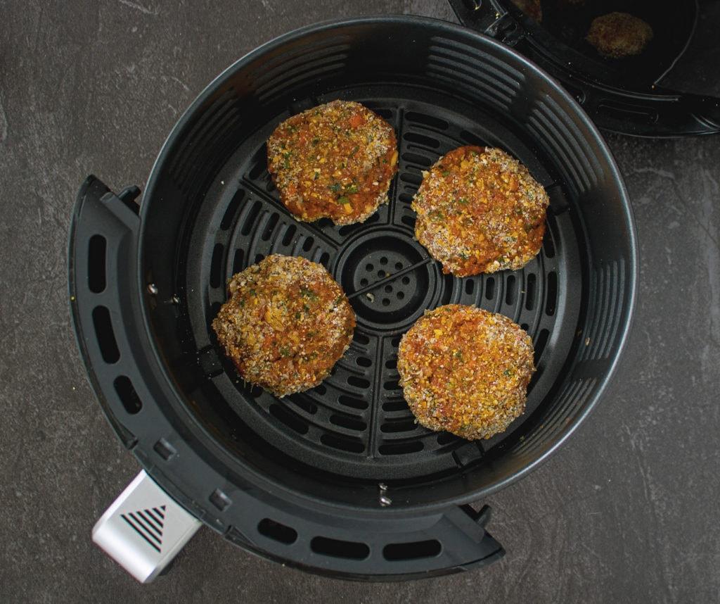Cooking salmon burger patties in air fryer