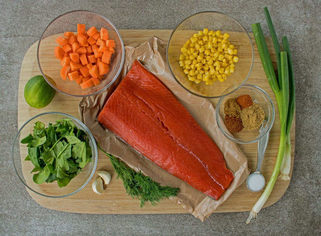 Ingredients for Salmon Patties/ Burgers- salmon, carrots, corn, dill, spices and spinach
