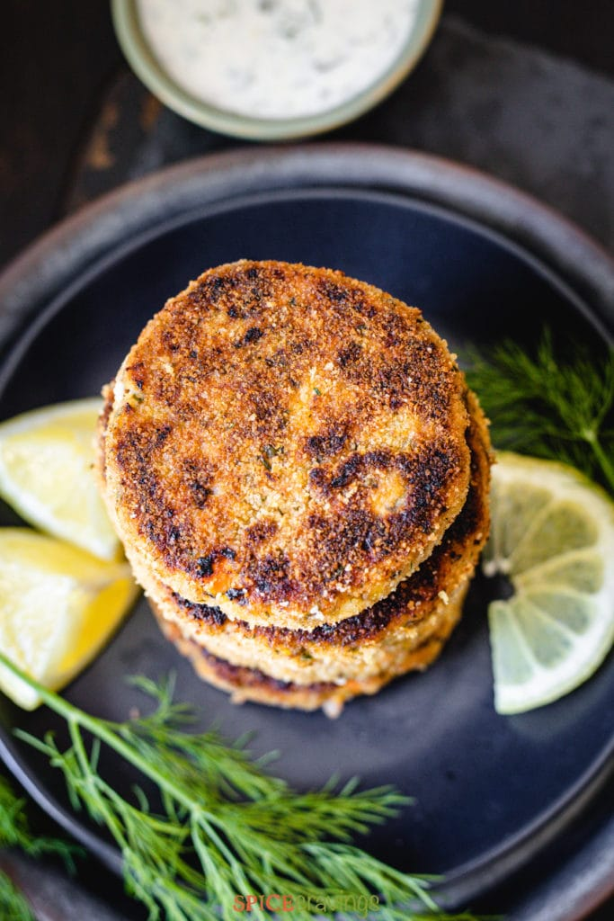 Top view of salmon cakes stacked on each other