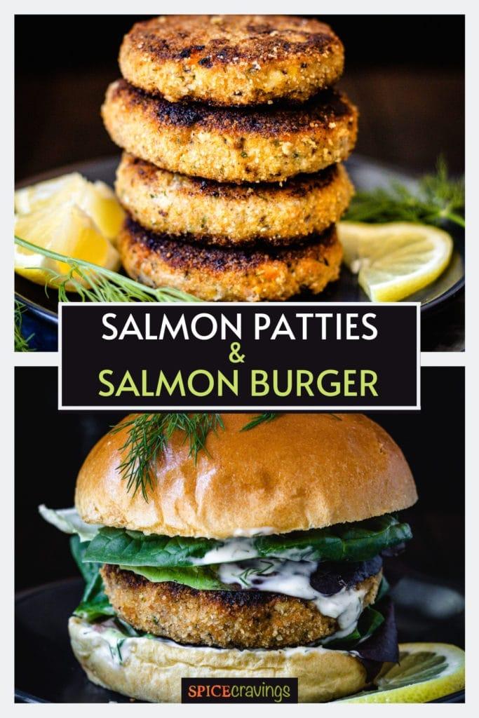 Salmon patties on top, salmon burger with dill on bottom