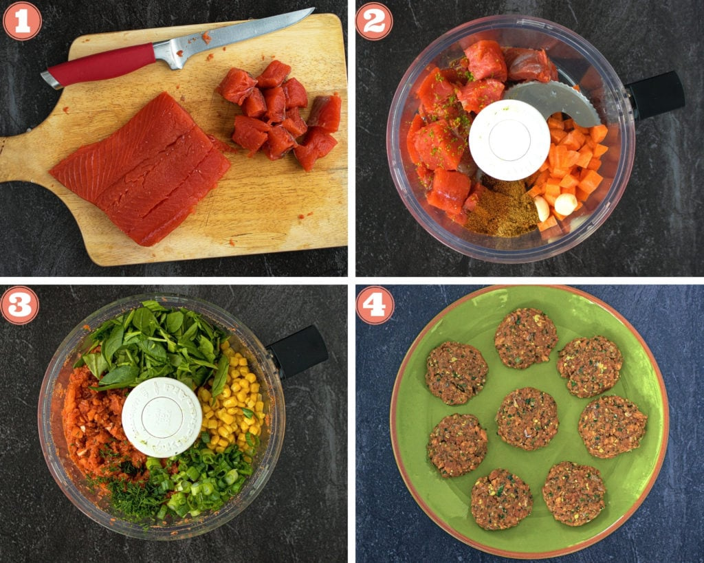 Step showing how to make salmon patties in food processor