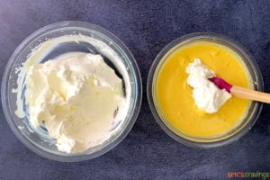 Whipped cream and mango mix ready for ice cream recipe
