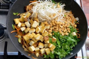 crispy tofu cubes, bean sprouts, cilantro and noodles in wok