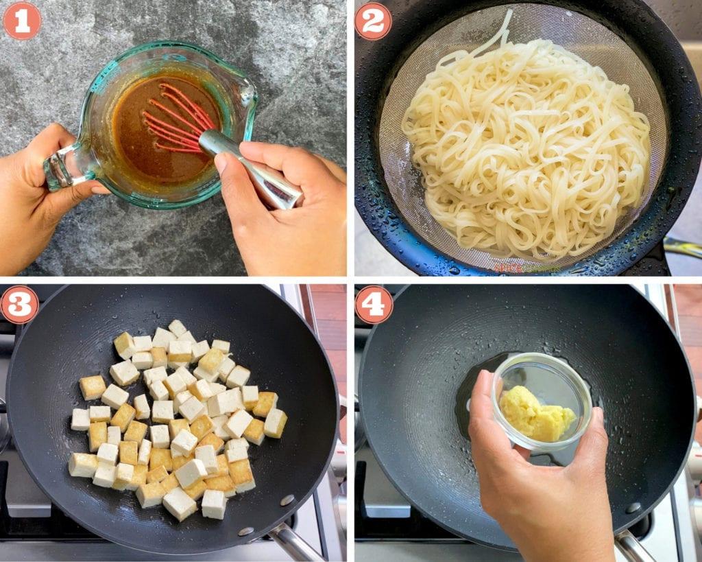 four step grid beginning to make pad thai in wok