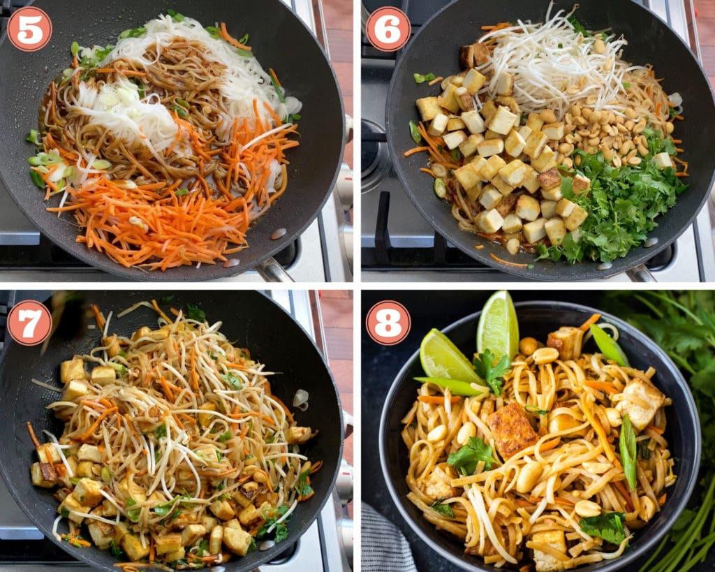 four step grid finishing vegan pad thai