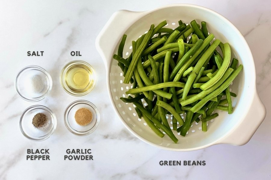 ingredients for air fryer green beans above