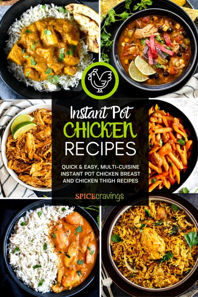 6-image grid showing chicken recipes made with rice, pasta, soup and curry